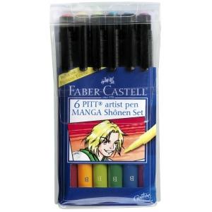 """Faber-Castell PITT Artist Pen """"Shonen"""" Manga: Wallet of 6 Pens"""
