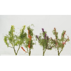"Wee Scapes Architectural Model Flower Trees: Red/Pink/ Yellow/Purple, 1.5""-2"", 150 Sq. In, Pack of 8"