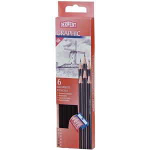 Derwent Graphic 6-Pencil Tin Set: Black/Gray, Drawing, (model 0700835), price per set