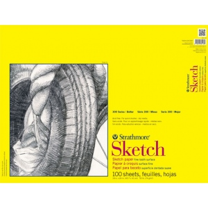 "Strathmore® 300 Series 18"" x 24"" Glue Bound Sketch Pad; Binding: Glue Bound; Color: White/Ivory; Format: Pad; Quantity: 100 Sheets; Size: 18"" x 24""; Weight: 50 lb; (model ST350-118), price per 100 Sheets pad"