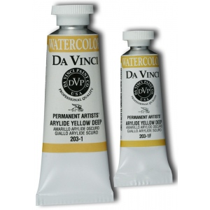 Da Vinci Artists' Watercolor Paint 15ml Arylide Yellow Deep; Color: Yellow; Format: Tube; Size: 15 ml; Type: Watercolor; (model DAV203-1F), price per tube