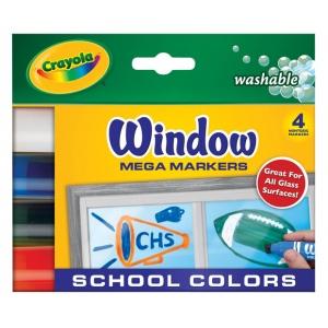 Crayola® Washable Window Mega Marker School 4-Color Set; Color: Multi; Type: Washable; (model 58-8171), price per pack