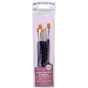 Royal & Langnickel® 9100 Series  Zip N' Close™ Purple 5-Piece Brush Set 8: Short Handle, Taklon, Shader, Acrylic, Tempera, Watercolor, (model RSET-9137), price per set