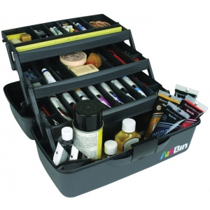 "Artbin® Essentials Three-Tray Box; Color: Black/Gray; Material: Plastic; Size: 9 1/4""d x 17 1/2""w x 8 1/2""h; (model 8737AB), price per each"