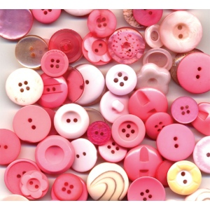 "Buttons Galore & More Button Bonanza Grab Bag Bubblegum: Red/Pink, Plastic, Round, 3/8"" - 1"", (model BB41), price per each"