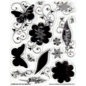 "Hot Off the Press Clear Acrylic Stamp Set Silhos & Shadows; Material: Acrylic; Mounted: No; Size: 5 1/2"" x 7""; (model HOTP1026), price per each"