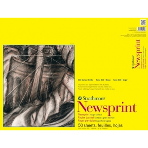 """Strathmore® 300 Series 18"""" x 24"""" Rough Tape Bound Newsprint Pad; Binding: Tape Bound; Color: White/Ivory; Format: Pad; Quantity: 50 Sheets; Size: 18"""" x 24""""; Texture: Rough; Type: Newsprint; Weight: 32 lb; (model ST307-818), price per 50 Sheets pad"""