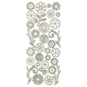 "Dazzles™ 3-D Flowers Silver; Color: Metallic; Size: 4"" x 9""; Type: Dimensional; (model HOTP2079), price per each"