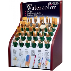 Princeton™ Good Synthetic Sable Watercolor and Acrylic Brush Display; Grade: Good; Length: Multi, Short Handle; Material: Synthetic Sable; Shape: Multi; Size: Multi; Type: Acrylic, Multi, Watercolor; (model 4350D), price per each