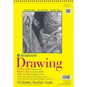 "Strathmore® 300 Series 9"" x 12"" Wire Bound Drawing Pad 50 Sheets; Binding: Wire Bound; Color: White/Ivory; Format: Pad; Quantity: 50 Sheets; Size: 9"" x 12""; Texture: Medium; Weight: 70 lb; (model ST340-9), price per 50 Sheets pad"
