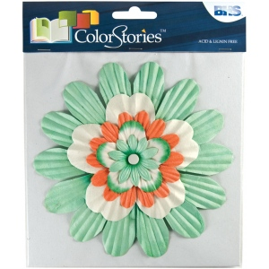 "Blue Hills Studio™ ColorStories™ Handmade Paper Stacked Flowers Green; Color: Green; Material: Paper; Size: 6""; Type: Dimensional; (model BHS10309), price per each"