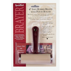 "Speedball® 4"" Soft Rubber Pop-In Brayer: Brown, Rubber, Soft Rubber, 4"", (model H41217), price per each"