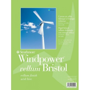 "Strathmore Windpower Tape Bound Bristol Pad: 11"" x 14"", Vellum Surface, 15-Sheet"