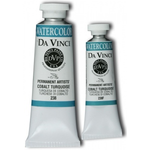 Da Vinci Artists' Watercolor Paint 15ml Cobalt Turquoise: Blue, Tube, 15 ml, Watercolor, (model DAV238F), price per tube