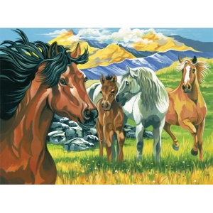 "Reeves™ Large Acrylic Painting By Numbers Set Wild Horses: 12"" x 15 1/2"", (model PL51), price per each"