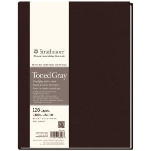 "Strathmore® 400 Series 8 1/2"" x 11"" Sewn Bound Toned Gray Sketch Art Journal: Black/Gray, Journal, 128 Sheets, 8 1/2"" x 11"", Sketching, (model ST469-108), price per each"