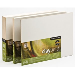 "Ampersand 1/8"" Smooth Flat Panel Claybord: 11"" x 14"", Case of 20"