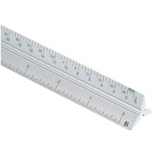 Alvin® 2200M Series 30cm Aluminum Metric Triangular Scale: White/Ivory, Aluminum, 30 cm, Metric, (model 2200M-3), price per each