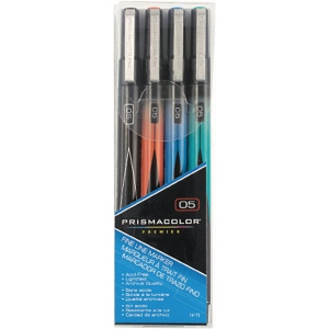 Prismacolor® Premier Fine Line Marker 4-Color Set; Color: Multi; Tip Size: .05mm; Tip Type: Fine Nib; (model SN14172), price per set