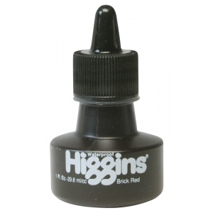 Higgins® Waterproof Color Drawing Ink Red Brick; Color: Red/Pink; Format: Bottle; Ink Type: Dye-Based; Size: 1 oz; Waterproof: Yes; (model SN44114), price per each