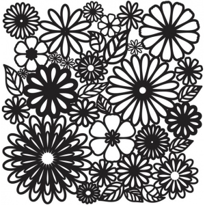 "The Crafter's Workshop 12"" x 12"" Journal and Design Template Flower Frenzy: 12"" x 12"", Patterned Stencil, (model TCW157), price per each"