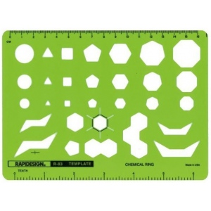 "Rapidesign® Chemical Ring Template; Size: 5"" x 6 7/8"" x .040""; Type: Electric/Electronic; (model 83R), price per each"