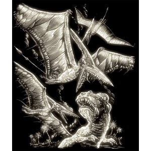 "Royal & Langnickel® Engraving Art Set Glow In The Dark Foil Pterodactyl; Board Size: 8"" x 10""; Color: Glow in the Dark; (model GLO15), price per set"