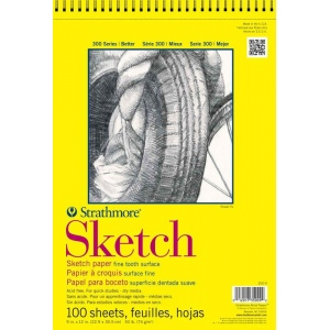 "Strathmore® 300 Series 9"" x 12"" Wire Bound Sketch Pad; Binding: Wire Bound; Color: White/Ivory; Format: Pad; Quantity: 100 Sheets; Size: 9"" x 12""; Weight: 50 lb; (model ST350-9), price per 100 Sheets pad"