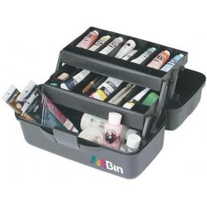 """Artbin® Essentials Two-Tray Box: Black/Gray, Plastic, 8 1/2""""d x 15 1/2""""w x 7 1/2""""h, (model 8627AB), price per each"""