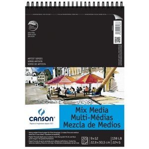 "Canson® Artist Series 9"" x 12"" Mixed Media Pad (Top Wire): Wire Bound, White/Ivory, Pad, 9"" x 12"", 138 lb, (model C200006186), price per pad"