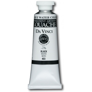 Da Vinci Artists' Gouache Opaque Watercolor 37ml Black; Color: Black/Gray; Format: Tube; Size: 37 ml; Type: Gouache, Watercolor; (model DAV403), price per tube