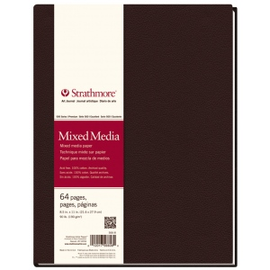 "Strathmore® 500 Series 8 1/2"" x 11"" Sewn Bound Mixed Media Art Journal; Color: White/Ivory; Format: Journal; Quantity: 64 Sheets; Size: 8 1/2"" x 11""; Type: Mixed Media; (model ST566-8), price per each"