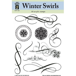 """Hot Off the Press Clear Acrylic Stamp Set Winter Swirls; Material: Acrylic; Mounted: No; Size: 5 1/2"""" x 7""""; (model HOTP1004), price per each"""