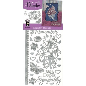 "Dazzles™ Stickers Silver Sympathy: Metallic, 4"" x 9"", Outline, (model HOTP2118), price per each"
