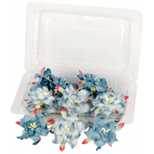 "Dimensional Paper Flowers Blueberry; Color: Blue; Material: Paper; Size: 2"", 3""; Type: Dimensional; (model BHS107523), price per box"