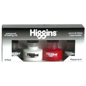 Higgins® Waterproof Drawing Ink 4-Color Set: Multi, Bottle, Dye-Based, 1 oz, Waterproof, (model SN44032), price per set