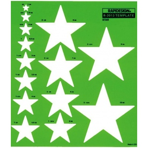 Rapidesign® Metric Star Template: 1 cm - 10 cm, (model 2013R), price per each