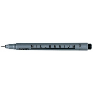 Zig®  Memory System® Millennium™ Pen .01 Black: Black/Gray, Pigment, .01mm, .1mm, Fine Nib, (model MS01/10), price per each