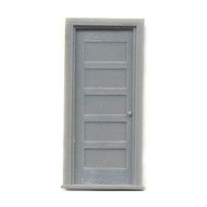 "1/4"" Scale Architectural Components: 30"" 5-Panel Door with Frame, Set of 2"