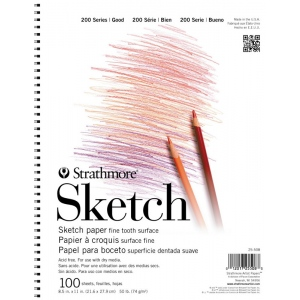 "Strathmore® 200 Series 8.5"" x 11"" Wire Bound Sketch Pad: Wire Bound, White/Ivory, Pad, 100 Sheets, 8 1/2"" x 11"", 50 lb, (model ST25-508), price per 100 Sheets pad"