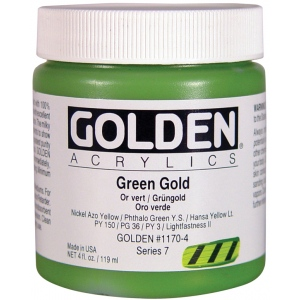 Golden® Heavy Body Acrylic 2 oz. Green Gold; Color: Green, Metallic; Format: Tube; Size: 2 oz, 59 ml; Type: Acrylic; (model 0001170-2), price per tube