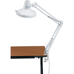 "Alvin® White Swing-Arm Combination Lamp with CFL Bulb; Color: White/Ivory; Shade Size: 10"" & Up; Style: Swing-Arm; Wattage: 26-75w, 8-25w; (model CLCFL1755-D), price per each"