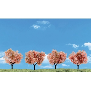 "Woodland Scenics® 4-Pack Flowering Trees; Color: Green; Quantity: 4-Pack; Size: 2"" - 3""; Type: Tree; (model TR3593), price per each"