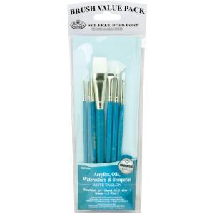 Royal & Langnickel® 9100 Series  Zip N' Close™ Teal Blue 7-Piece Brush Set 10: Short Handle, Taklon, Fan, Glaze, Liner, Round, Shader, Acrylic, Oil, Tempera, Watercolor, (model RSET-9181), price per set