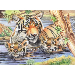 "Reeves™ Large Colored Pencil By Numbers Tigers & Cubs; Color: Multi; Size: 12"" x 15""; (model PPCR1), price per each"