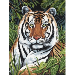 "Royal & Langnickel® Painting by Numbers™ 9 x 12 Artist Canvas Series Set Tiger Hiding; Board Size: 9"" x 12""; (model PCS4), price per set"