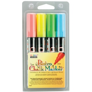 Marvy® Bistro Chalkboard and Lightboard 4-Color Set A: Multi, Water-Based, 6mm, (model MR480-4A), price per set
