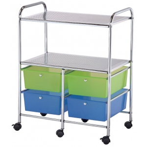 """Blue Hills Studio™ Storage Cart 4-Drawer (Deep) with 2-Shelf Multi-Colored; Color: Multi; Drawer Size: 13 3/4""""l x 9 3/4""""w x 5""""h; Material: Plastic; Quantity: 4-Drawer; Size: 15 1/4""""d x 23 5/8""""w x 32""""h; (model SC4MCDW-S), price per each"""