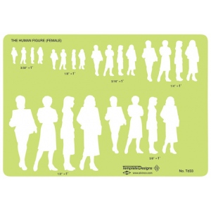 "Alvin® Female Human Figure Template; Scale: 3/32"" - 1/2"" = 1; (model TD33), price per each"