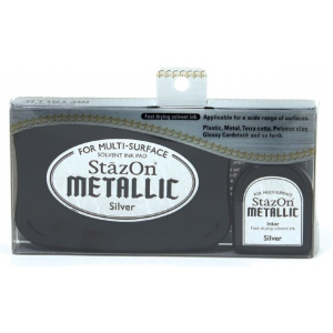 StazOn® Solvent Ink Pad with Re-Inker Met Silver : Metallic, Pad, Solvent-Based, Refill, Full Size Rectangle, (model SZ192), price per each